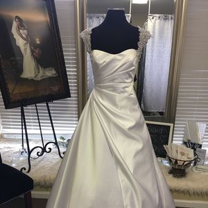 Dresses & Skirts - White Satin Wedding Dress with beaded Cap Sleeve
